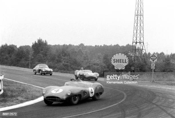 The 24 Hours of Le Mans; Le Mans, June 20-21, 1959. Jack Faieman at Mulsanne, followed by Carroll Shelby.