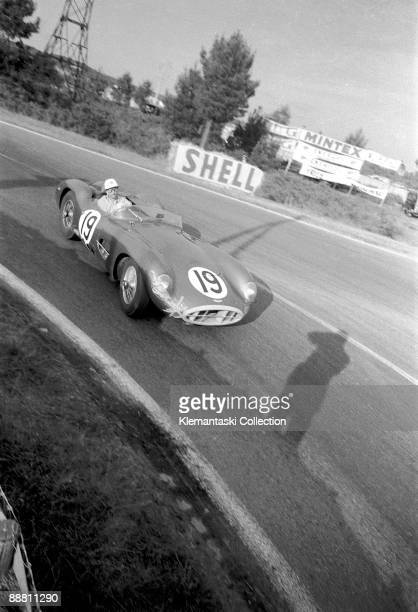 The 24 Hours of Le Mans; Le Mans, June 22-23, 1957. Rounding Mulsanne is the works Aston Martin DBR-1 which was entrusted to Roy Salvadori and Les...