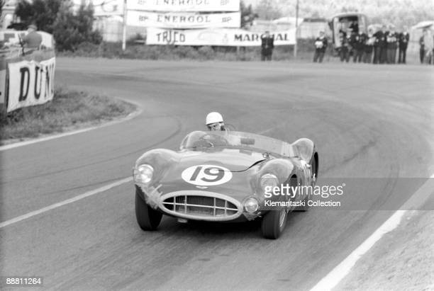 The 24 Hours of Le Mans; Le Mans, June 22-23, 1957. Roy Salvadori coming out of Mulsanne Corner in the Aston Martin he shared with Les Leston. Their...