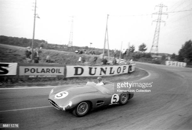 The 24 Hours of Le Mans; Le Mans, June 22-23, 1957. The Aston Martin DBR2 of Peter and Graham Whitehead at Mulsanne. Another gearbox failure.
