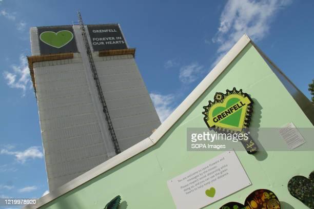 The 24 story shell that remained after the tragedy stands tall above the memorial site during the 3rd anniversary of the Grenfell fire Seventytwo...
