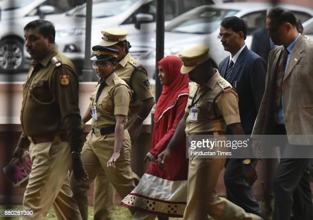 The 24yearold Hadiya alias Akhila at the supreme court after hearing on November 27 2017 in New Delhi India The Supreme Court which is hearing the...