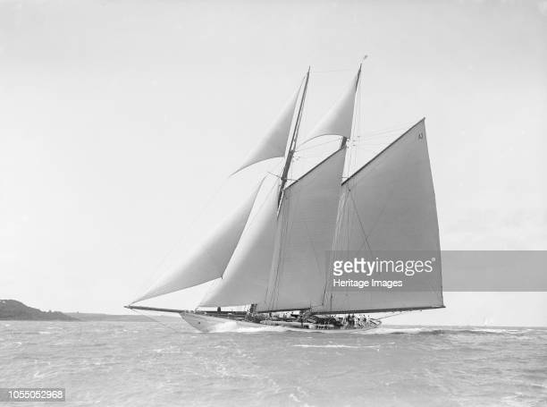 The 250 ton schooner 'Germania' reaching in stiff wind 1912 'Germania' was designed by Max Oertz and owned by the German industrialist Count Gustav...