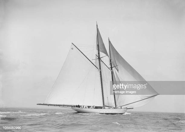 The 250 ton schooner 'Germania' sailing downwind with spinnaker 1912 'Germania' was designed by Max Oertz and owned by the German industrialist Count...