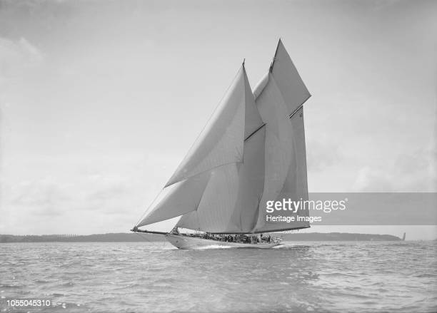 The 250 ton schooner 'Germania' sails close reach 1911 'Germania' was designed by Max Oertz and owned by the German industrialist Count Gustav Krupp...