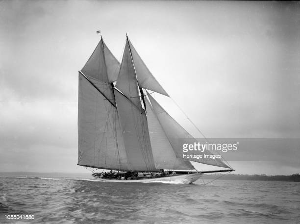 The 250 ton schooner 'Germania' sails closehauled 1911 'Germania' was designed by Max Oertz and owned by the German industrialist Count Gustav Krupp...