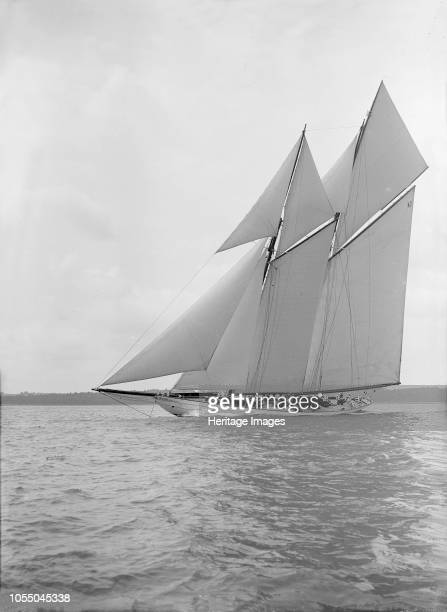 The 250 ton schooner 'Germania' sails closehauled 1913 'Germania' was designed by Max Oertz and owned by the German industrialist Count Gustav Krupp...