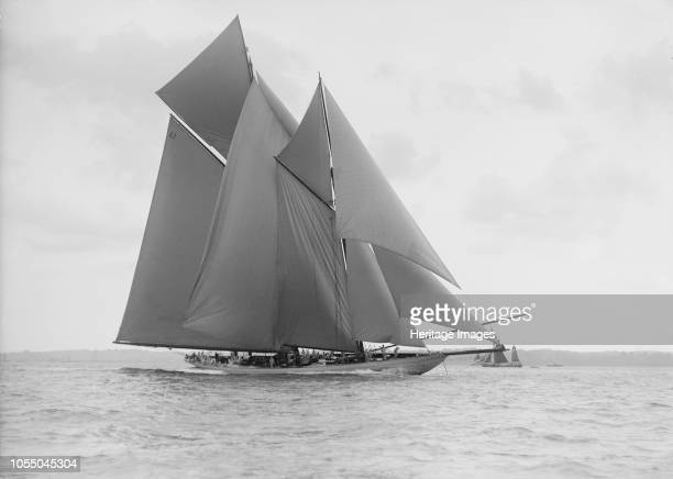 The 250 ton schooner 'Germania' sails on a reach 1913 'Germania' was designed by Max Oertz and owned by the German industrialist Count Gustav Krupp...