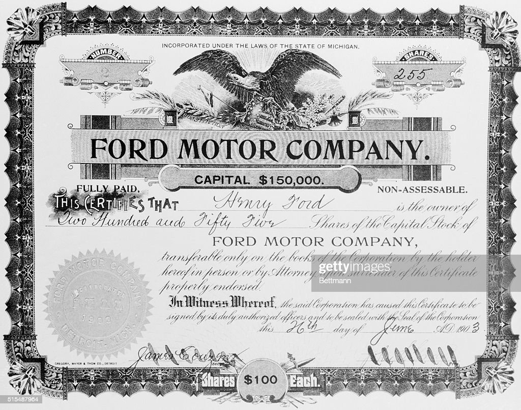 View of stock certificate owned by henry ford news photo