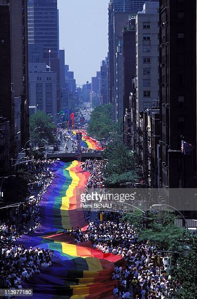 The 25th anniversary of revolt homosexual of Stonewall bar gay at Greenwich city In New York United States On June 26 1994