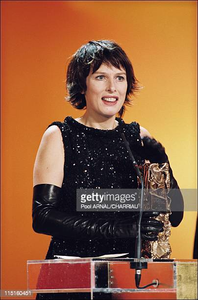 The 25th Cesar Awards Ceremony in Paris France on February 19 2000 Karine Viard Cesar Award for Best Actress in Haut les coeurs of Silveig Anspach