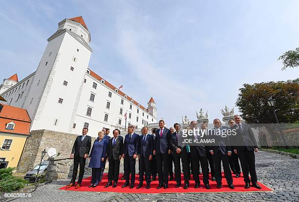 The 27 EU heads of state pose for a family picture during an informal EU summit at the Bratislava Castle in the Slovak capital on September 16 2016...