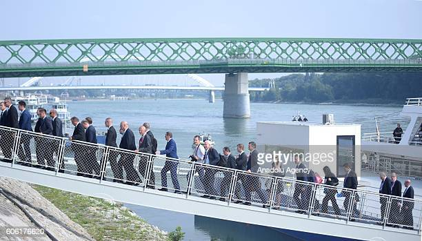 The 27 Heads of State of EU arrive at the city port after lunch onboard of the Regina Danubia boat during the Informal Meeting of the 27 Heads of...