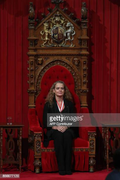 The 29th Governor General Julie Payette sits in the thorne chair in the senate in Ottawa, Ontario, October 2, 2017. / AFP PHOTO / Lars Hagberg