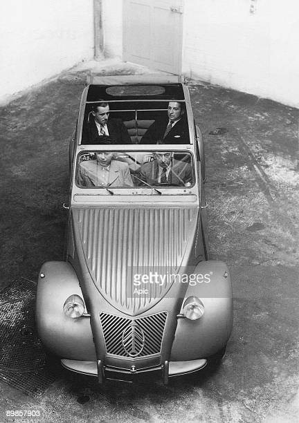 The 2CV Citroen car tested by leader of research department his secretary and 2 engineers 1948