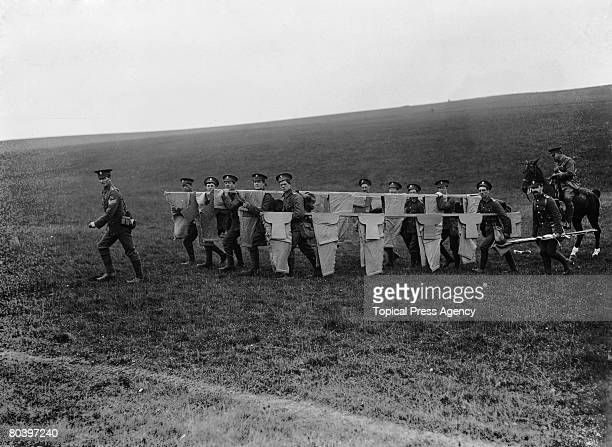The 2nd Battalion of the City of London Royal Fusiliers a detachment of the London Territorials carry out training manoeuvres on Salisbury Plain 14th...