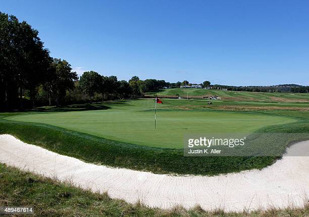 The 2nd green is seen during the 2016 US Open Media Day at Oakmont Country Club on September 21 2015 in Oakmont Pennsylvania