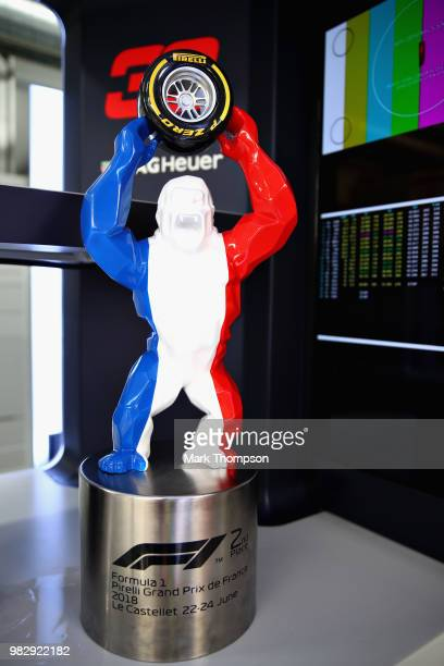 The 2nd place trophy of Max Verstappen of Netherlands and Red Bull Racing is seen in the garage after the Formula One Grand Prix of France at Circuit...