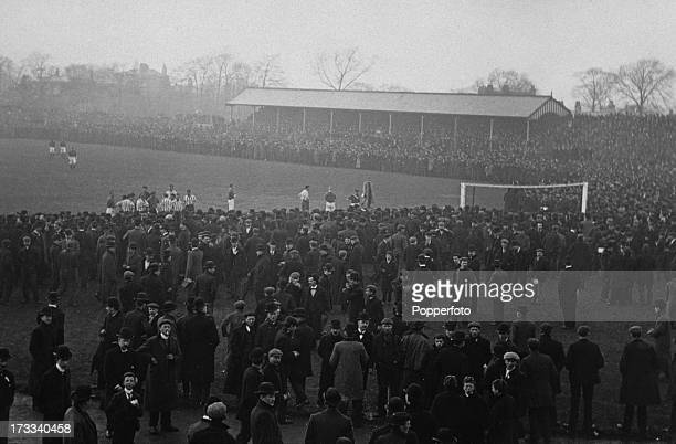 The 2nd replay of the FA Cup semifinal between Sheffield United and Liverpool at Fallowfield Manchester UK 27th March 1899 Play was stopped after the...