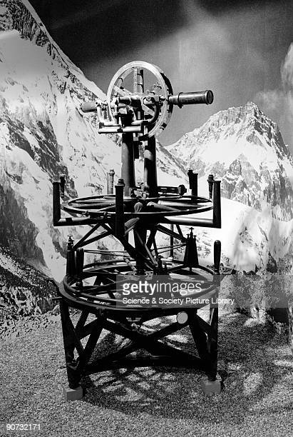 The 3 foot theodolite made by Cary and revised by Barrow photographed on the gallery during the exhibition 'Science in India' at the Science Museum...