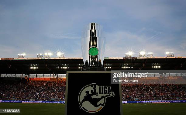 The 3 Liga trophy is pictured prior to the Third League match between 1 FC Magdeburg and FC Rot Weiss Erfurt at MDCCArena on July 24 2015 in...