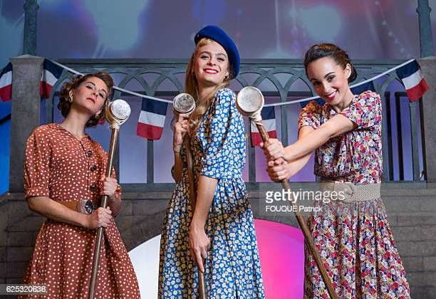 the 3 singers of the musical Un Summer 44 by Valery Zeitoun at the theater Comedia SarahLane Roberts Alice Raucoules and Barbara Pravi pose for Paris...