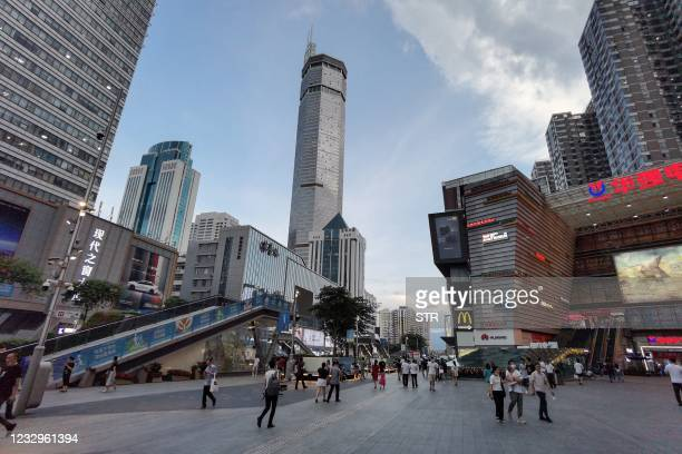 The 300-metre high SEG Plaza is seen after it began to shake, in Shenzhen in China's southern Guangdong province on May 18, 2021. - - China OUT /...