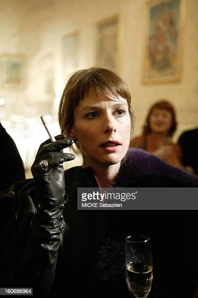 The 30th ceremony of the 2005 CESAR look behind the scenes of the Theatre du Chatelet in PARIS face plane of Karin Viard smoking a cigarette wearing...