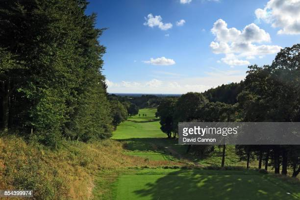 The 329 yards par 4 sixth hole on the Downs Course with the Chichester Cathedral in the distance at Golf at Goodwood on September 22 2017 in...