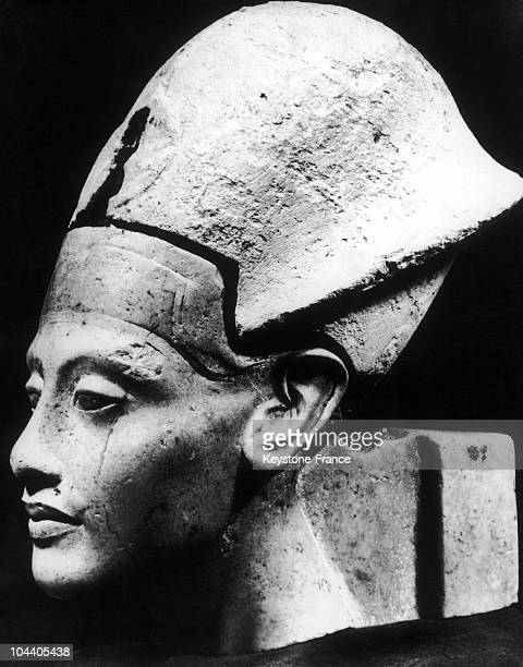 The 3350 nyearold portraithead King AMENOPHIS IVAKHENATON with the blue crown in the exhibition at the House of Art at Munich