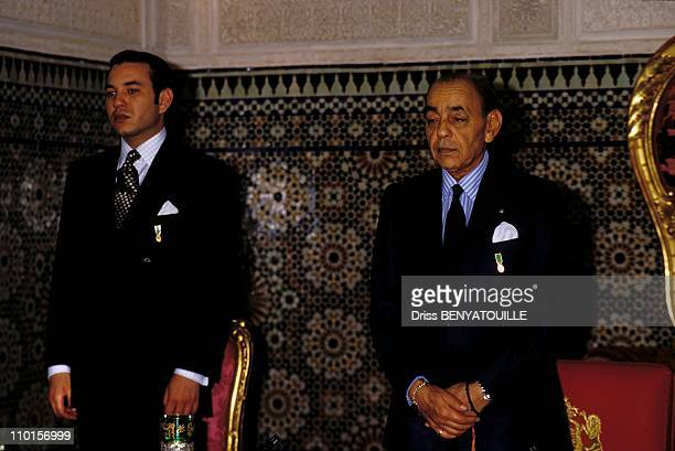The 33th anniversary of the Reign Hassan II with his son Sidi Mohammed in Rabat Morocco on March 21 1994