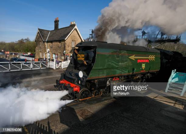 The 34092 City of Wells steam locomotive prepares to leave Grosmont station on March 30 2019 in Grosmont England The Bulleid Light Pacific steam...