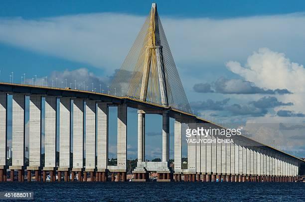The 35kmlong ManausIranduba Bridge over the Rio Negro in Manaus Amazonas state Brazil as seen on November 23 2013 Manaus will host 4 matches during...