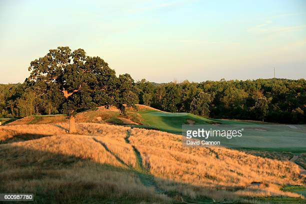 The 370 yards par 4 15th hole at Erin Hills Golf Course the venue for the 2017 US Open Championship on August 31 2016 in Erin Wisconsin