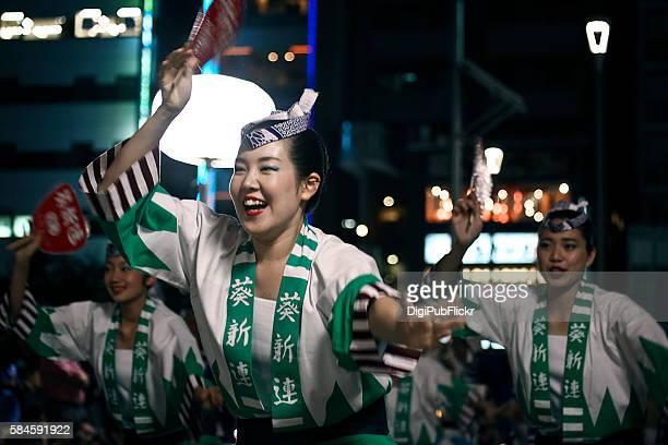 the 38th koganei awaodori dance festival - aoi shin ren - happi stock photos and pictures