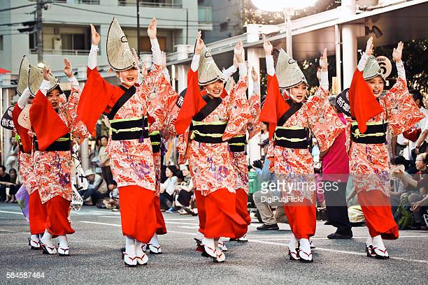 the 38th koganei awaodori festival - awa dance festival stock photos and pictures