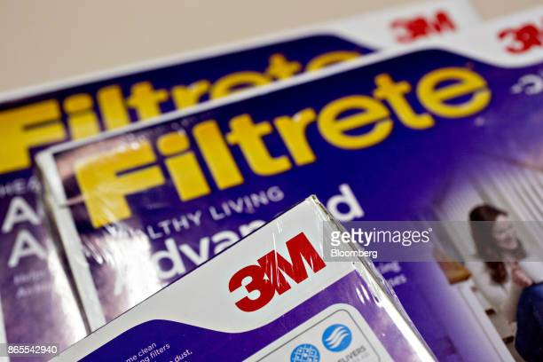 The 3M Co logo is seen on a box of Filtrete brand furnace filters in this arranged photograph taken in Tiskilwa Illinois US on Monday Oct 23 2017 3M...