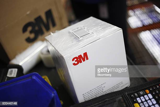 The 3M Co logo is seen on boxes being sorted for shipment inside the Fastenal Co distribution center in Jessup Pennsylvania US on Thursday April 7...
