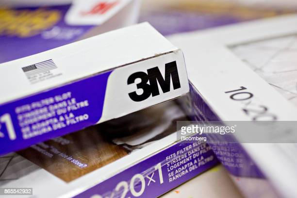 The 3M Co logo is seen on boxes of Filtrete brand furnace filters in this arranged photograph taken in Tiskilwa Illinois US on Monday Oct 23 2017 3M...