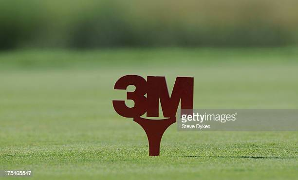 The 3M logo sits on the tee box of the 3rd hole during the second round of the 3M Championship at TPC Twin Cities on August 3 2013 in Blaine Minnesota