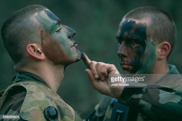 The 3rd Marine Infantry Parachute Regiment is a part of the 11th Parachute Brigade and is stationed at Carcassonne Two parachutists put on face...