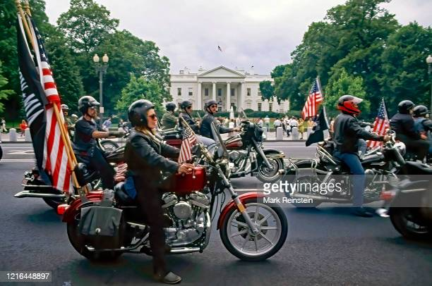 """The 3rd """"u201cRolling Thunder""""u201d freedom ride roars past the North Lawn of the White House """"nWashington DC. May 27, 1990"""