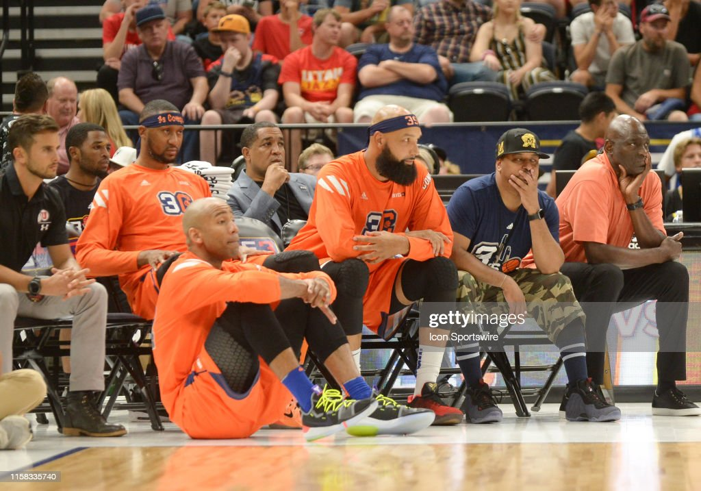 The 3's Company bench during a Big3 basketball game on July