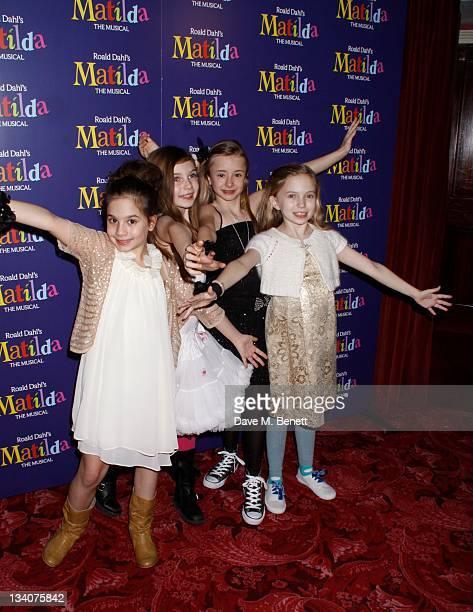 The 4 Matildas Cleo Demetriou Kerry Ingram Eleanor Worthington CoxSophia Kiely attend the Matilda Press Night Party at the Theatre Royal on November...