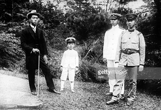 The 4 sons of japanese emperor Taisho in 1921 : future japanese emperor Hirohito, his brothers princes Takahito Mikasa, Nobuhito Takamatsu et...