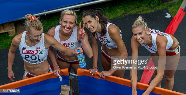 The 4 x 400 relay team of Poland after the 4 x 400m Relay Women Qualifying Rounds at the Olympic Stadium during Day4 of the 23rd European Athletics...