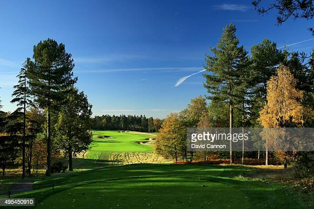 The 400 yards par 4 4th hole at Bearwood Lakes Golf Club on October 31 2015 in Sindlesham Reading United Kingdom