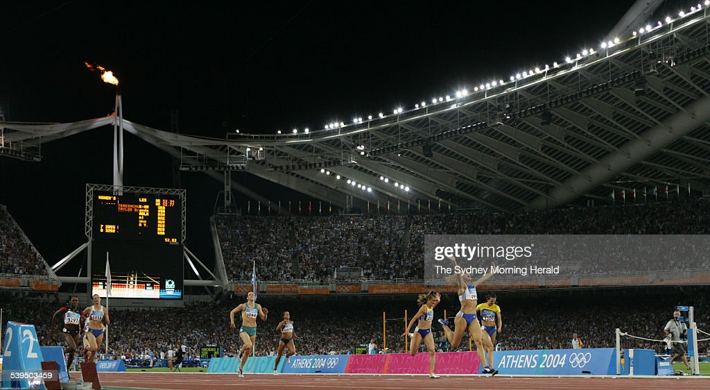 The 400m Hurdles event at the Athens Olympics on 25 August 2004. Greek athlete F : News Photo