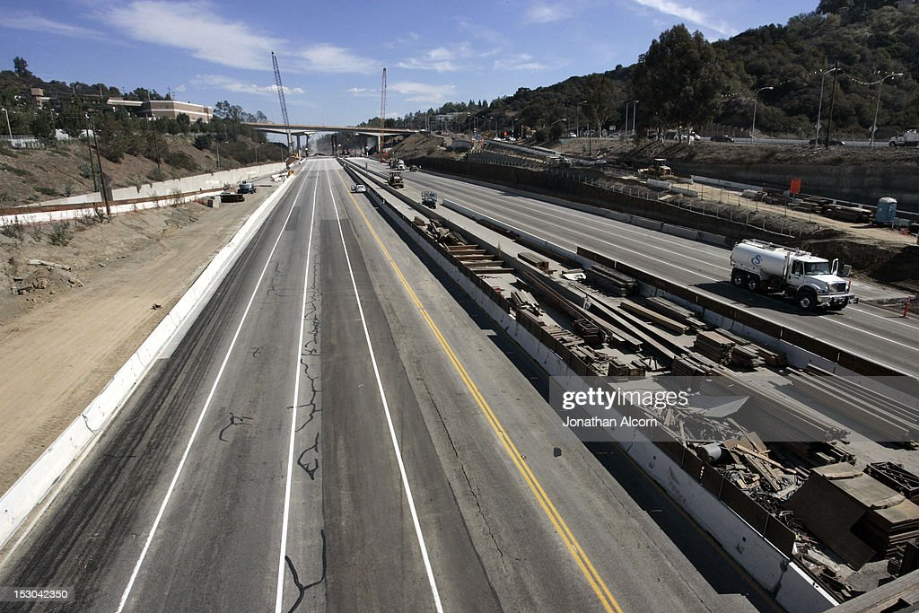 The 405 Freeway is nearly vacant as construction crews