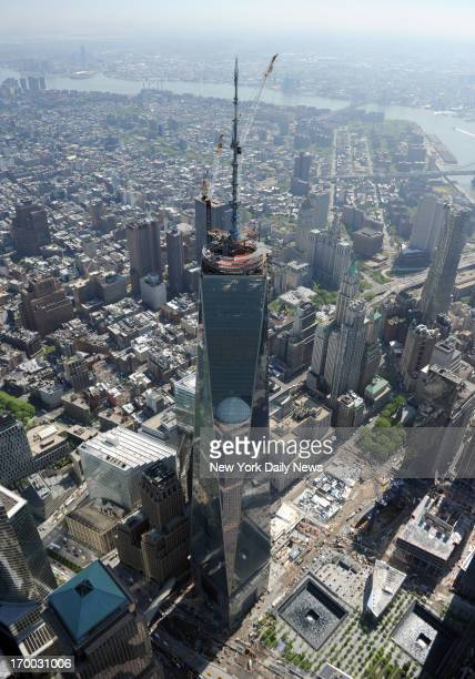 The 408 foot spire sits atop 1 World Trade Center making it the tallest building in the western hemisphere at 1776 feet Mark Bonifacio/NY Daily News...